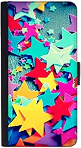 Snoogg Stars Colourful Patterndesigner Protective Flip Case Cover For Htc M7