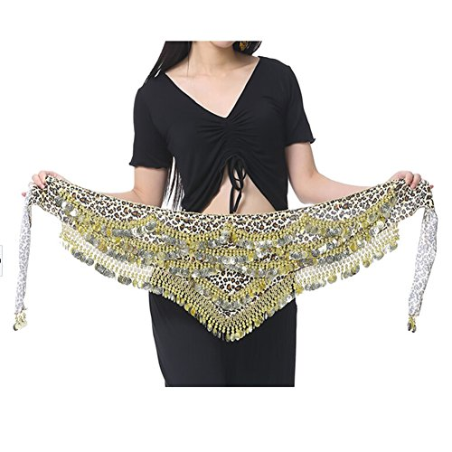 BellyLady Leopard Belly Dance Hip Scarf, Velvet Gold Coin Belly Dance Skirt
