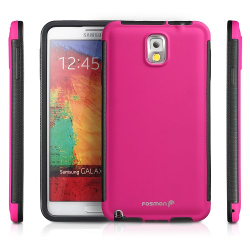 Fosmon HYBO-SNAP Durable Full Body Protection Hybrid Case with Built-In Screen Protector for Samsung Galaxy Note 3 / Note III - Retail Packaging (Pink) by Fosmon Technology
