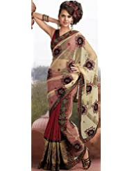 Exotic India Hemp And Crimson Sari With Embroidery, Sequins, - Hemp And Crimson
