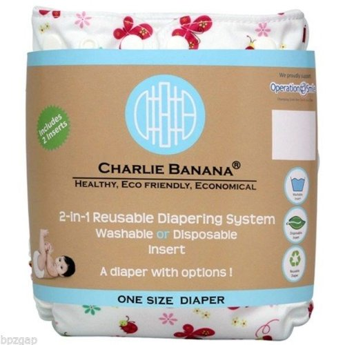 Charlie Banana One Size Belly Wrap Reusable Diaper In Butterfly 2 Inserts front-824287