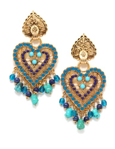 'Inspiration' Collection Luxurious Heart Earrings Created by Israeli Amaro Jewelry Studio Enhanced with Turquoise, Lapis Lazuli and Swarovski Crystals, Accented with Drop Beads; 24K Yellow Gold Plated