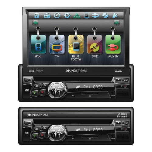 Soundstream VR-750NBT Bluetooth Enabled 2-DIN In-Dash DVD Receiver with 7