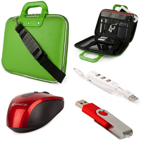 Green Sumaclife Cady Semi Hard Case W/ Shoulder Strap For Asus K52 Series 15.6-Inch Notebook + Red Sumaclife Wireless Usb Mouse And Adapter + Red 4Gb Flash Memory Thumbdrive + Kallin Universal 3 Port Usb Hub With Micro Usb Charger Cable