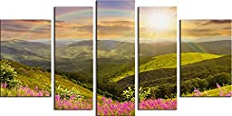 Startonight 5 Panel Framed and Stretched Canvas Wall Art Print Set