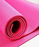 """Yoga Mat - With Carry Strap -Great Pilates And Exercise Mat With Carry Sling -Save On Yoga Mat Bag-Best Classic Yoga Mat - 1/8"""" (3mm) Thick -Great Workout Mats For Women Kids And Men- Eco Friendly- Best Non-Slip Yoga Mat for Carpet, Home And Travel-On Sale-100% Money Back GUARANTEED! (Fushchia)"""