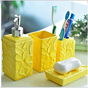 Yellow 4 piece set ceramic bathroom for Yellow bathroom accessories sets