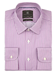 Performance Pure Cotton Slim Fit Textured Bold Striped Shirt