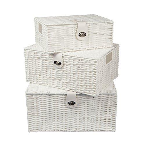 Woodluv-Set di 3resina Wooven contenitore Cesta con coperchio, colore: bianco, colore: bianco