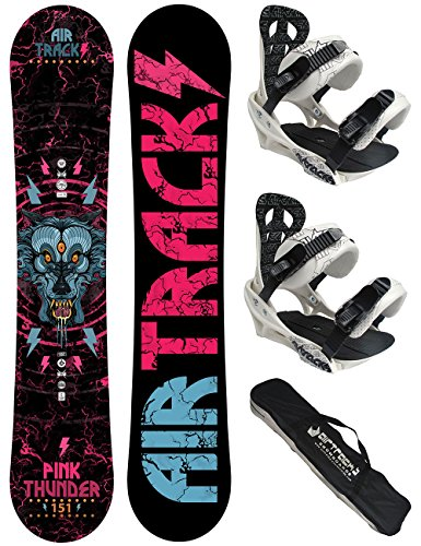 AIRTRACKS-SNOWBOARD-SET-PACK-PLANCHE-PINK-THUNDER-FEMME-FIXATIONS-SAVAGE-W-SB-SAC-NEUF
