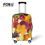 [FOR U DESIGNS]個性的な柄 伸縮素材 Spandex  スーツケース ラゲッジカバー luggage cover 旅行カバンカバー トランクカバー Mサイズ 紅葉1