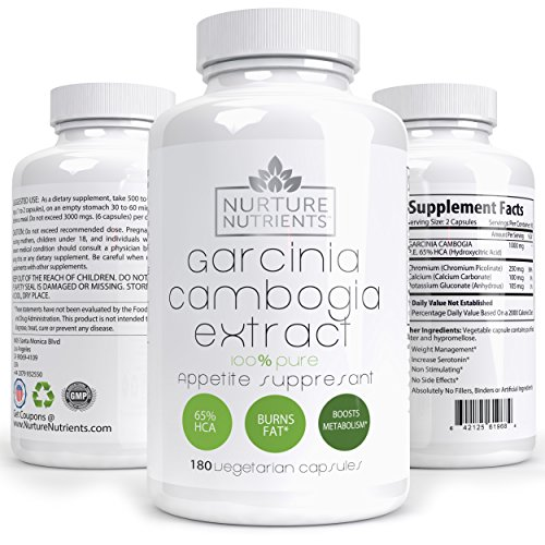 Nurture Nutrients – Garcinia Cambogia – Weight Loss Supplements – Appetite Suppressant – Herbal Fat Burner – Lose Stubborn Belly Fat Without Trying