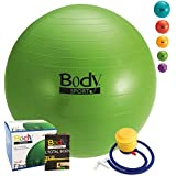 Exercise Ball (5 Colors/Sizes) - By BODYSPORT Perfect Yoga Fitness Chair Pilates Balls or Chair Large or Small - FREE Pump & Guide Included (45 55 65 75 & 85 cm)