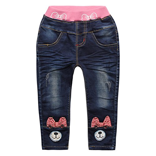 Little Girls' Infant Baby Bowknot Bear Denim Jeans Pants Deep Blue Size 24M (Bear Jeans compare prices)
