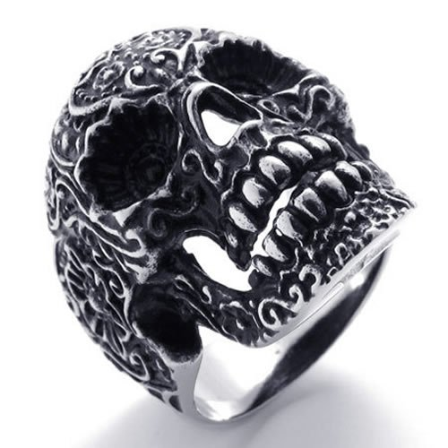 KONOV Jewelry Gothic Stainless Steel Skull Biker Mens Ring, Silver Black (Available in Sizes 8 - 14) - Size 12