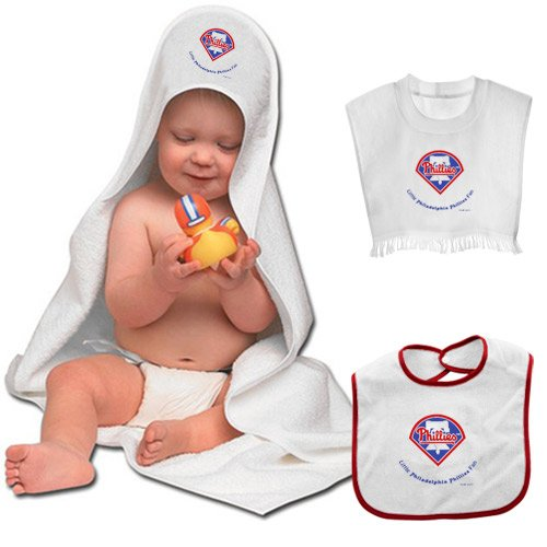 Philadelphia Phillies Team Toddler Set - Hooded Towel Pullover Bib And Snap Bib With Color Trim front-1035024