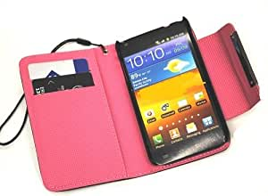 Ooki Deluxe Folio Wallet Leather Case Multifunctional - Pockets to Keep Your Cards Driving License Bills & Belongings Safe for For LG Optimus L9 P769 (T Mobile) - Color - Black / Hot Pink