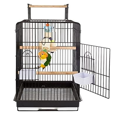 Durable Black Bird Cage with 2 Internal Wooden Perches - Open Top Perch, A Pull Out Tray And More - For Your Cockatiel, Conure or Small Parrot