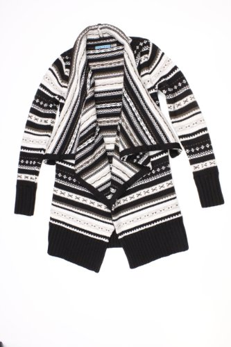 Alice + Olivia womens black multi avril long cascade cardigan M