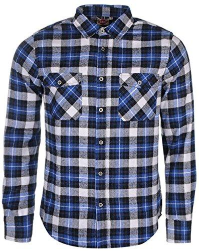 Mens Designer nuova Lee Cooper-Camicia in flanella, motivo a scacchi, a maniche lunghe Black/Blue/Whit medium