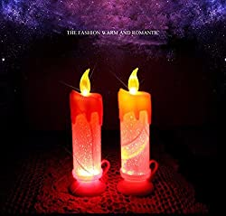 1x Colors Changing Candle LED Light For Diwali Christmas Wedding Party Holiday Decoration Party Birthday (Red, 6