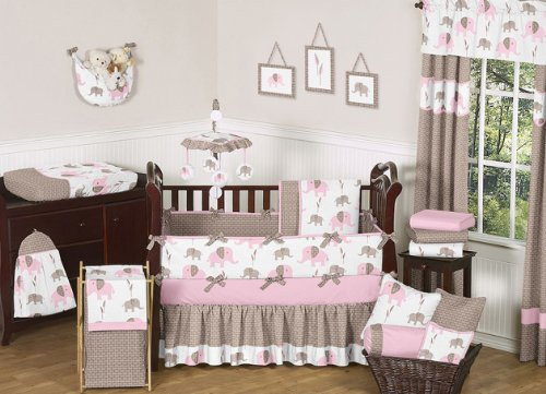 Lovely pink baby bedding for Brown and pink bedroom ideas for a girl
