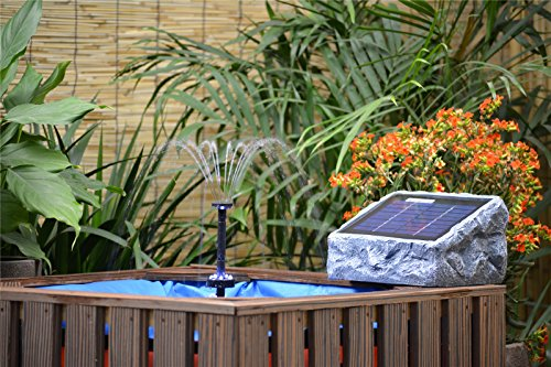 galleon asc solar stone water pump kit with battery and led ring light. Black Bedroom Furniture Sets. Home Design Ideas