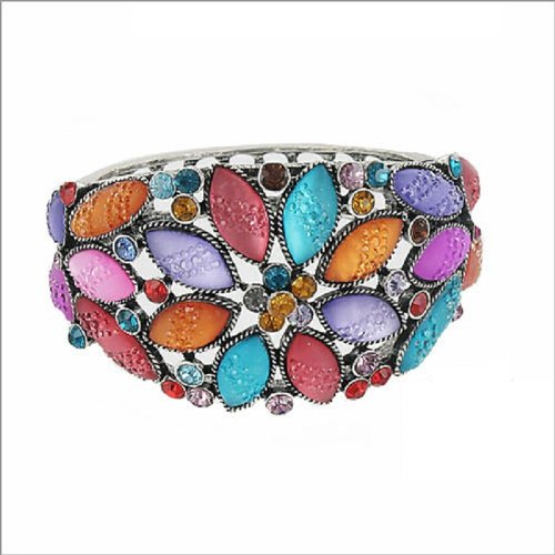 JOA Trendy Stone Flower Design Hinged Bracelet #037958