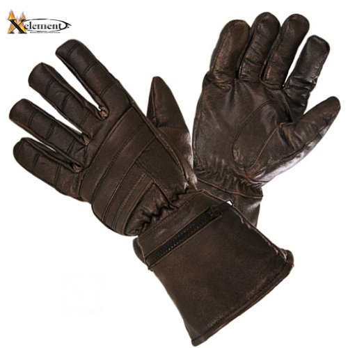 Xelement Driving Retro Mens Brown Leather Gauntlet Motorcycle Gloves - Large 0