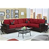 2 Piece Classic Large Microfiber and Faux Leather Sectional Sofa with Matching Accent Pillows - Colors Hazelnut Brown, Chocolate, and Red (Red)