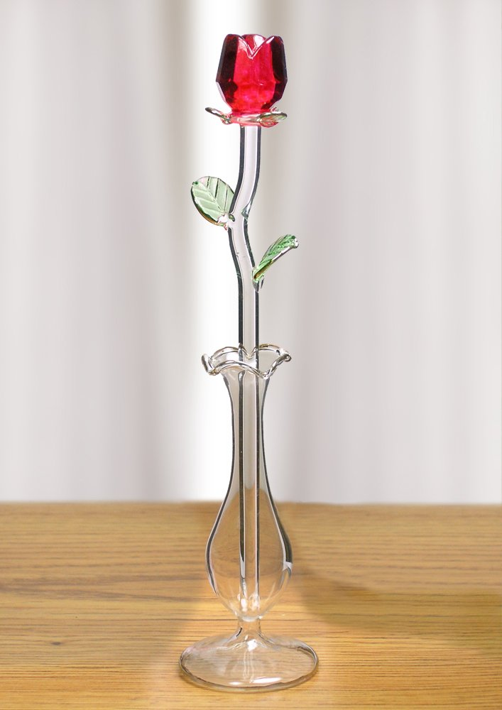 Cut Crystal Red Rose With Glass Vase – Crystal Figurines