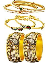 Jewels Galaxy Combo Of Broad Mayur Bangles And Designer Pearls Bangles - Pack Of 6