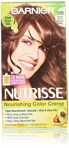 Garnier Nutrisse Nourishing Color Creme, 535 Medium Golden Mahogany Brown, 3 Count (Red Mahogany Dye compare prices)