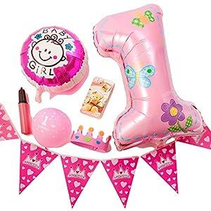 【ADOSSY】お誕生日 おめでとう パーティ 飾り 11 点 セット 12 点セット うちの子 1歳 ファースト バースデー 祝  ハッピー バースデー (11点 セット, ピンク)