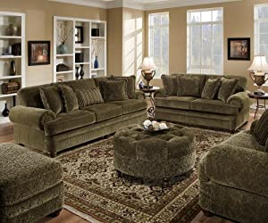 Amazoncom simmons lake charles chenille sofa love seat for Green chenille sectional sofa