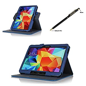 ProCase Samsung Galaxy Tab 4 (10 inch) Dual View Case (horizontal and vertical display) - Rotating Stand Folio Cover Case for Galaxy Tab 4 10.1 (2014 released) with auto Sleep/Wake, and bonus Stylus Pen, also compatible with Galaxy Tab 3 10.1 (Navy, Dark