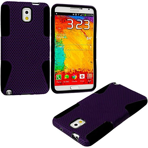 Mylife Black + Plum Purple Flexi Grip (2 Piece Mesh Armorsuit) Tough Jacket Case For The Samsung Galaxy Note 3 (4G) Smartphone (Fits Models: N9000, N9002 And N9005) (External Mesh Fitted Hardshell Protector + Internal Solft Silicone Flexible Easy Grip Bum