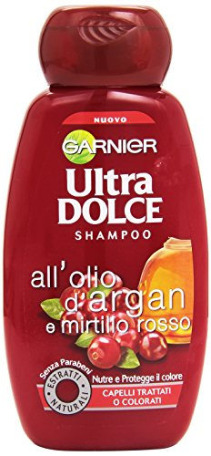 Garnier Ultra Dolce all'Olio di Argan e Mirtillo Rosso Shampoo per Capelli Trattati o Colorati, 250 ml