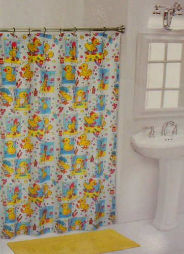 Rubber Duck Ducky Kids Bathroom Shower Curtain 738980909364