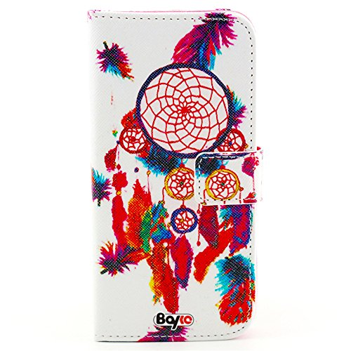 Bayke Brand / Iphone 6 Plus Case 5.5 Inch Beautiful Pu Leather Wallet Type Flip Case Cover With Credit Card Holder Slots For Apple Iphone 6 Pro 5.5 Inch Release On 2014 Case (Watercolour Painting Dream Catcher Pattern)