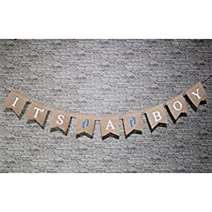 ROSENICE IT'S A BOY Baby Shower Hessian Bunting Garland Banner by ROSENICE