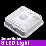 Auto 8 LED Light PIR Sensor Motion Detector Wireless Infrared Indoor Color : White