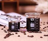 Ainest Coffee Measuring Cup Glass Beaker Espresso Graduated Borosilicate Laboratory Lab 2 pc,50ml Measuring Cup Beaker