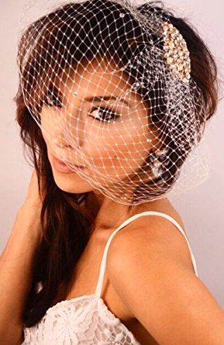 Leslie Li Crystal Bridal Birdcage Veil Gold Crystal Champagne Blush Pearls Brooch One Size Ivory 23-30939