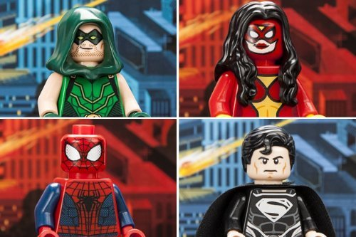 LEGO EXCLUSIVE MINIFIGURE SET OF ALL 4: GREEN ARROW, SUPERMAN, SPIDER-MAN, & SPIDER-WOMAN!