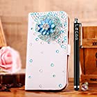 Locaa(TM) Apple IPod touch 5 Itouch5 3D Bling Case + Phone stylus + Anti-dust ear plug Deluxe Luxury Crystal Pearl Diamond Rhinestone eye-catching Beautiful Leather Retro Support bumper Cover Card Holder Wallet Cases - [General blue rose