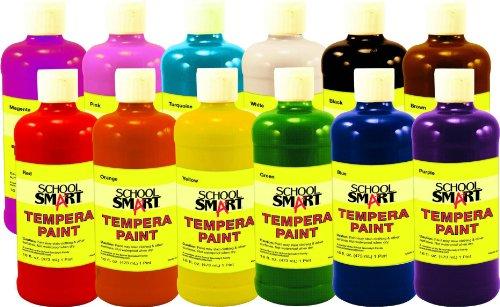 School Smart 1439187 Non-Toxic Multi-Purpose Liquid Tempera Paint Set, 1-Quart Plastic Bottle, Assorted Vibrant Color (Pack Of 12) front-1055089