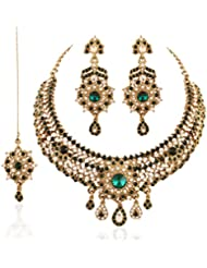 I Jewels Traditional Gold Plated Wedding Necklace Set With Maang Tikka For Women M4041G (Green)