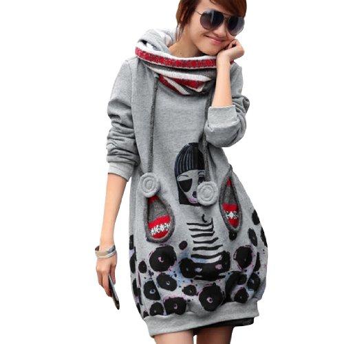 fbf1ac70fb3336 Allegra K Ladies Drawstring Hooded Cowl Neck Tunic Sweatshirt Light ...