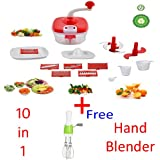 Jony 10_in_1_Red Manual Food Processor (Red) By A TO Z Sales-AZ5021 With Hand Blender